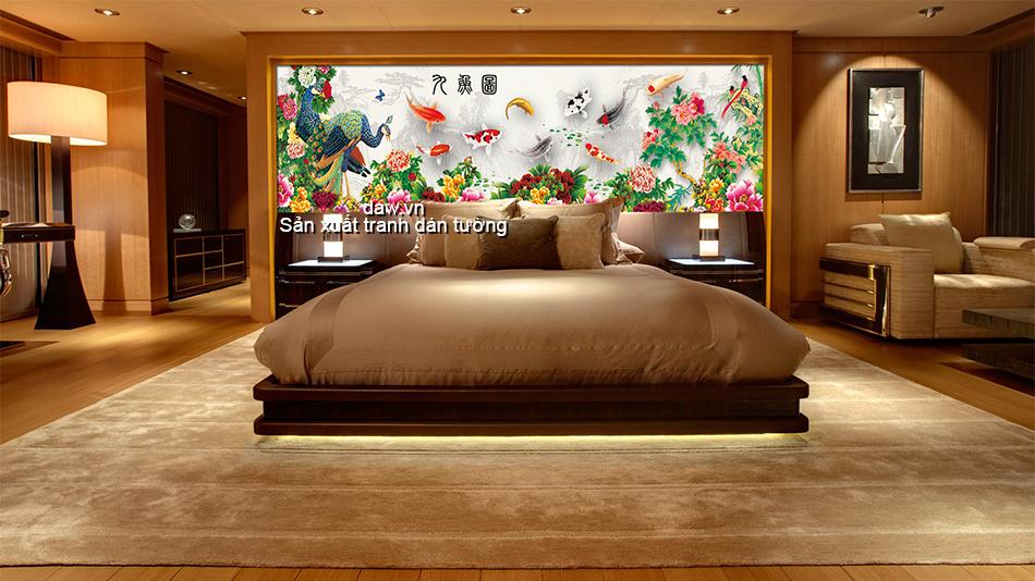 Tranh dán tường phòng ngủ, tranh dan tuong phong ngu dep