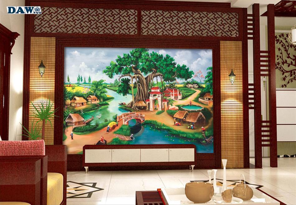 Tranh dán tường làng quê, tranh dán tường đồng quê Việt Nam ngày xưa