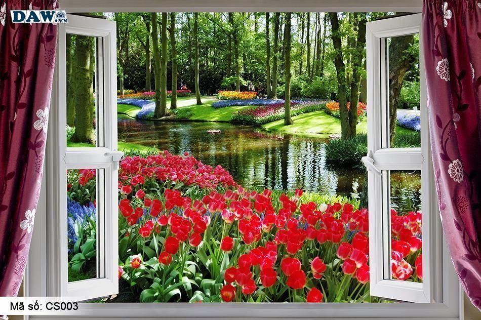 Tranh dán tường vườn hoa, tạo không gian nhiều màu sắc đẹp, mát mẻ