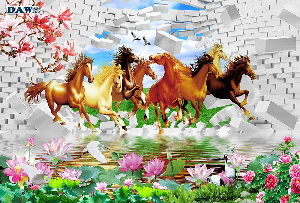 Tranh dán tường mã đáo thành công, tranh bát mã 8 con ngựa và ý nghĩa của nó