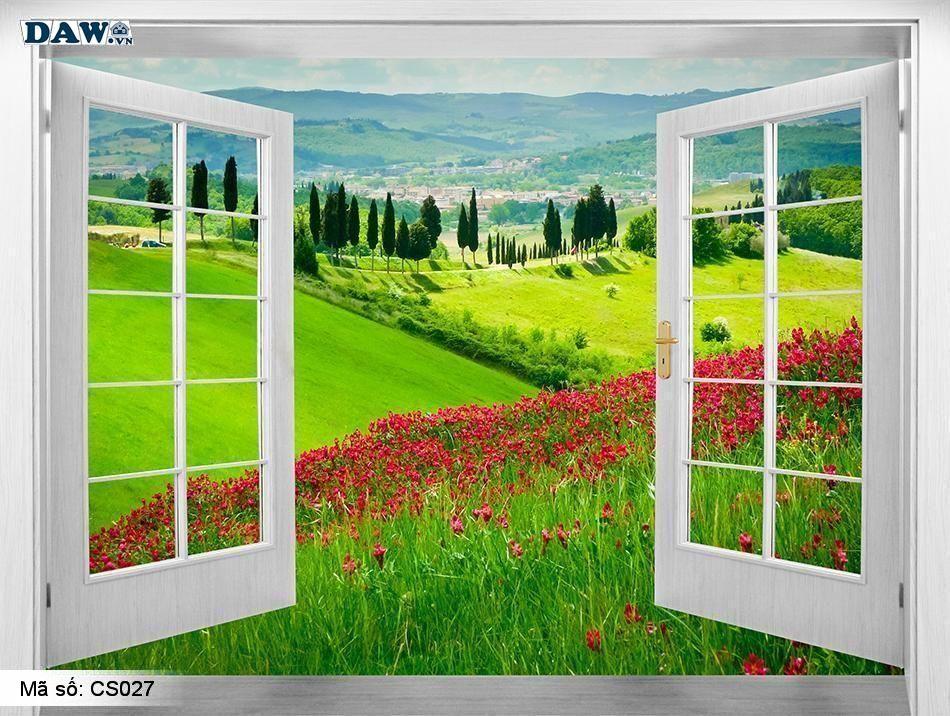 CS027 | Tranh dán tường Hàn Quốc | Tranh dán tường cửa sổ CS027
