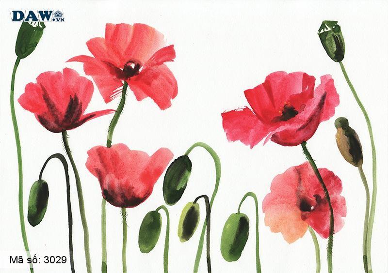 3029 Tranh dán tường Hàn Quốc   Tranh dán tường hoa lá 3029