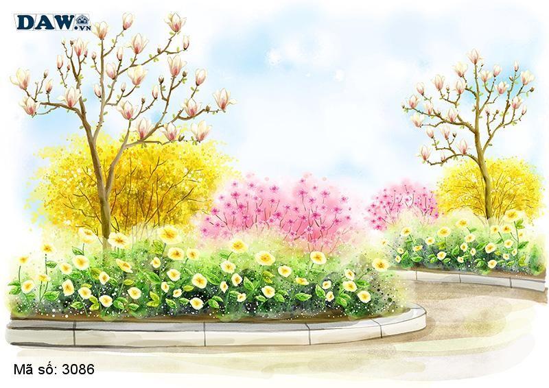 3086 Tranh dán tường Hàn Quốc | Tranh dán tường hoa lá 3086
