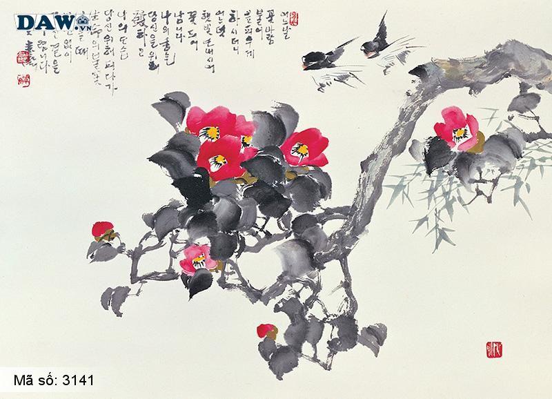 3141 Tranh dán tường Hàn Quốc | Tranh dán tường hoa lá 141