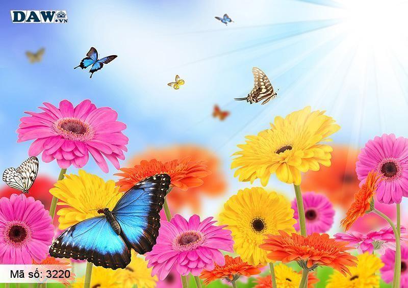 3220 Tranh dán tường Hàn Quốc | Tranh dán tường hoa lá 3220