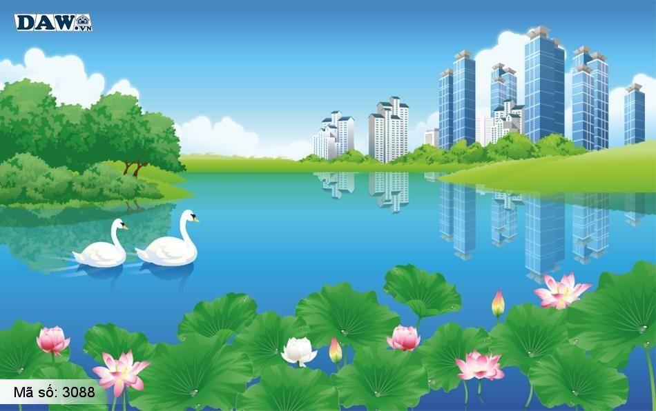 3088 Tranh dán tường Hàn Quốc | Tranh dán tường hoa lá 3088