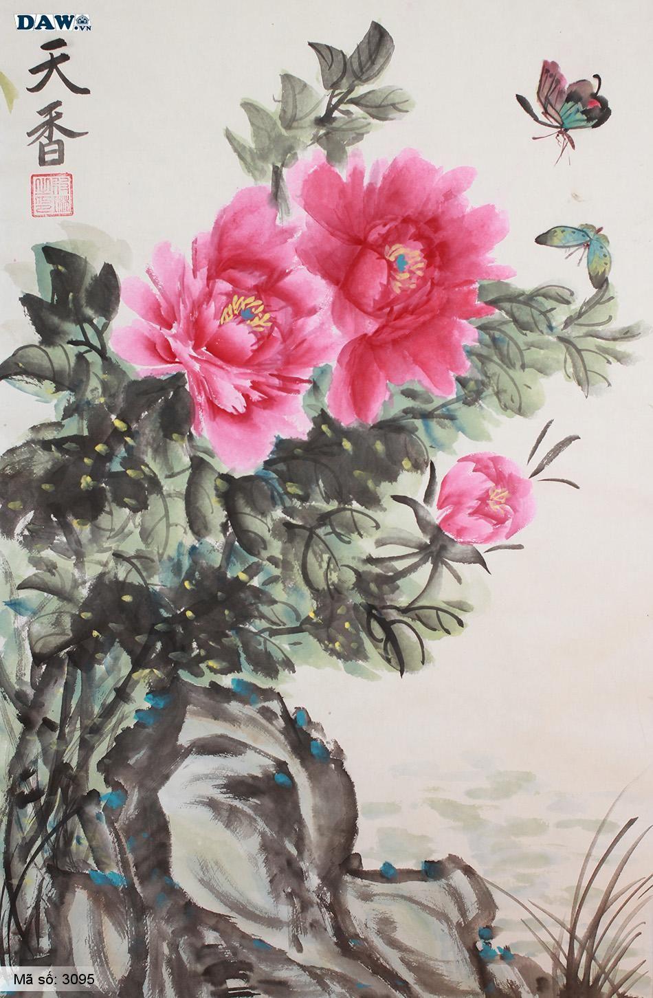 3095 Tranh dán tường Hàn Quốc | Tranh dán tường hoa lá 3095