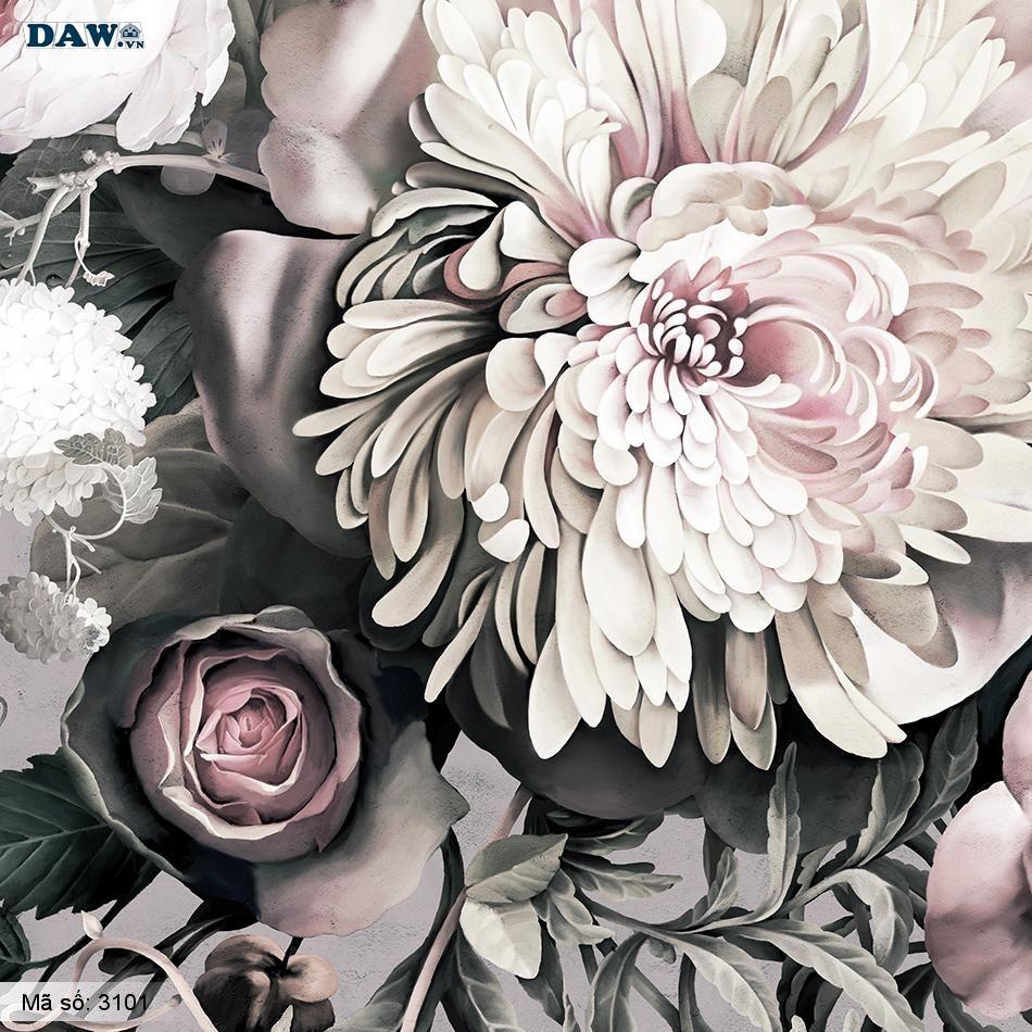3101 Tranh dán tường Hàn Quốc | Tranh dán tường hoa lá 3101