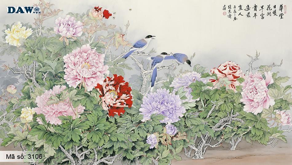 3106 Tranh dán tường Hàn Quốc | Tranh dán tường hoa lá 3106