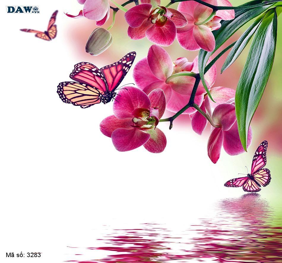 3283 Tranh dán tường Hàn Quốc | Tranh dán tường hoa lá 3283