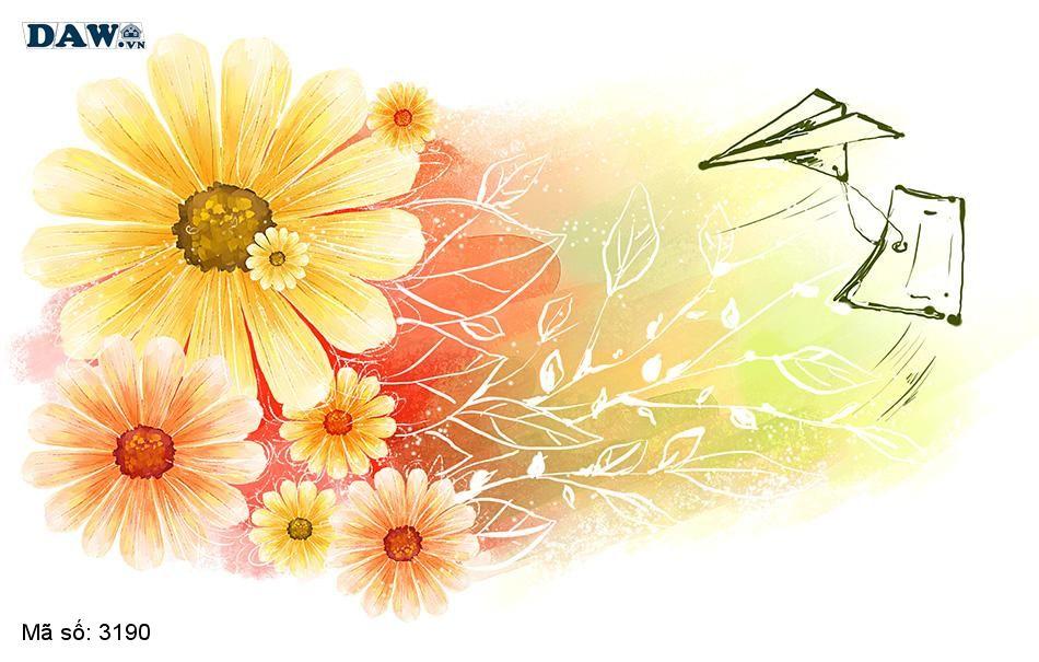 3190 Tranh dán tường Hàn Quốc | Tranh dán tường hoa lá 3190
