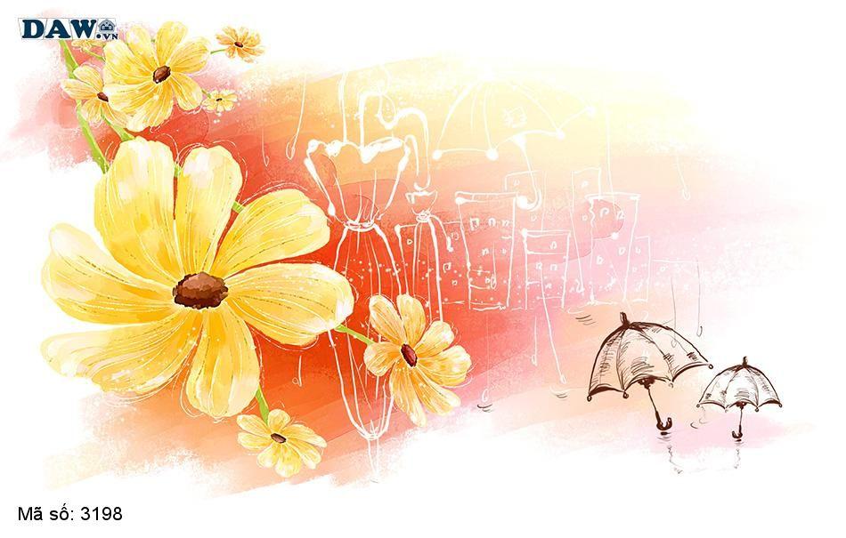 3198 Tranh dán tường Hàn Quốc | Tranh dán tường hoa lá 3198