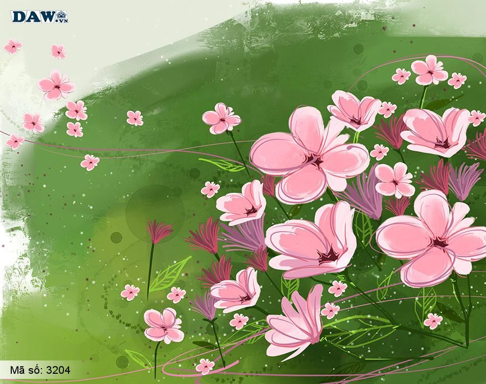 3204 Tranh dán tường Hàn Quốc | Tranh dán tường hoa lá 3204