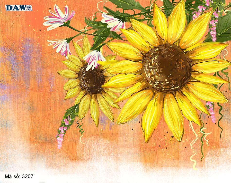 3207 Tranh dán tường Hàn Quốc | Tranh dán tường hoa lá 3207