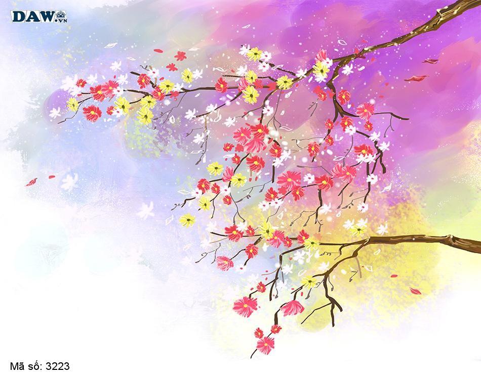3223 Tranh dán tường Hàn Quốc | Tranh dán tường hoa lá 3223