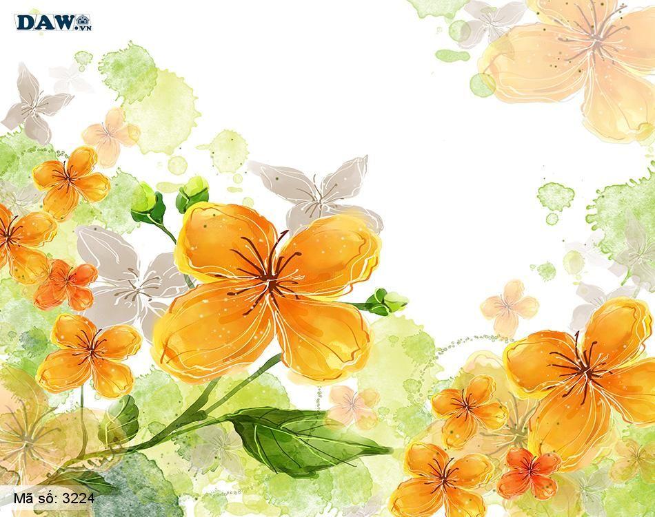3224 Tranh dán tường Hàn Quốc | Tranh dán tường hoa lá 3224
