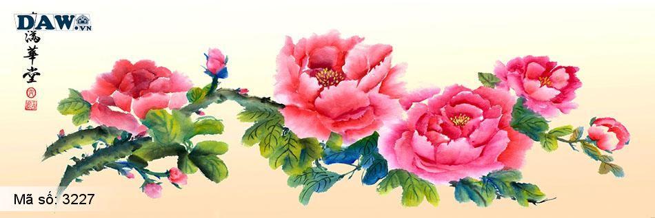 3227 Tranh dán tường Hàn Quốc | Tranh dán tường hoa lá 3227