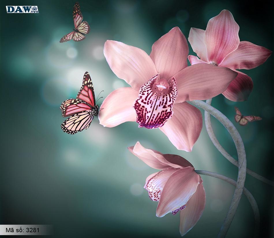 3281 Tranh dán tường Hàn Quốc | Tranh dán tường hoa lá 3281