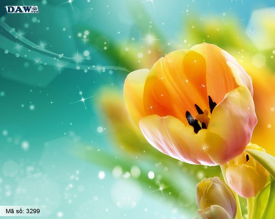 3299 Tranh dán tường Hàn Quốc | Tranh dán tường hoa lá 3299