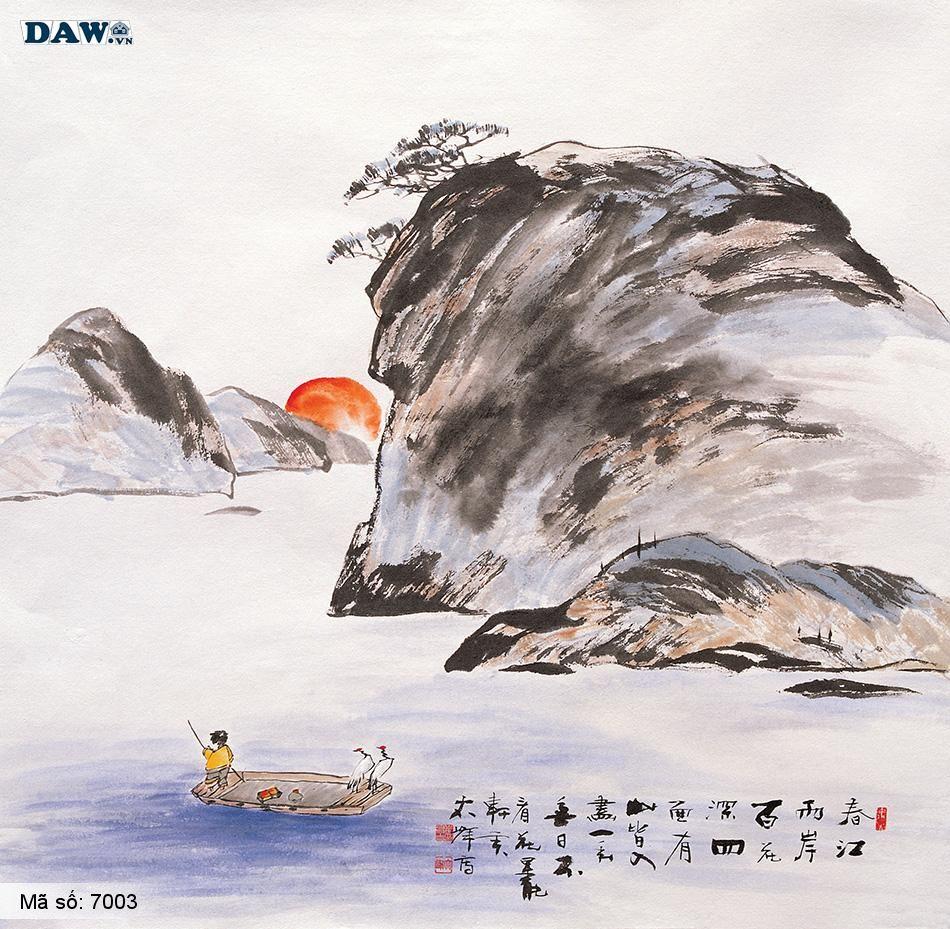 7003 Tranh dán tường Hàn Quốc | Tranh dán tường Thủy Mặc - Phong Thủy  7003