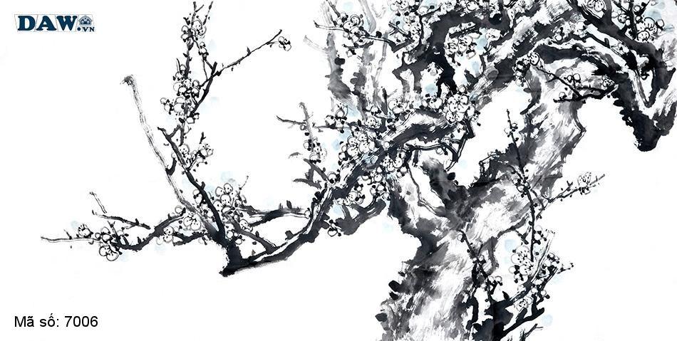7006 Tranh dán tường Hàn Quốc | Tranh dán tường Thủy Mặc - Phong Thủy 7006