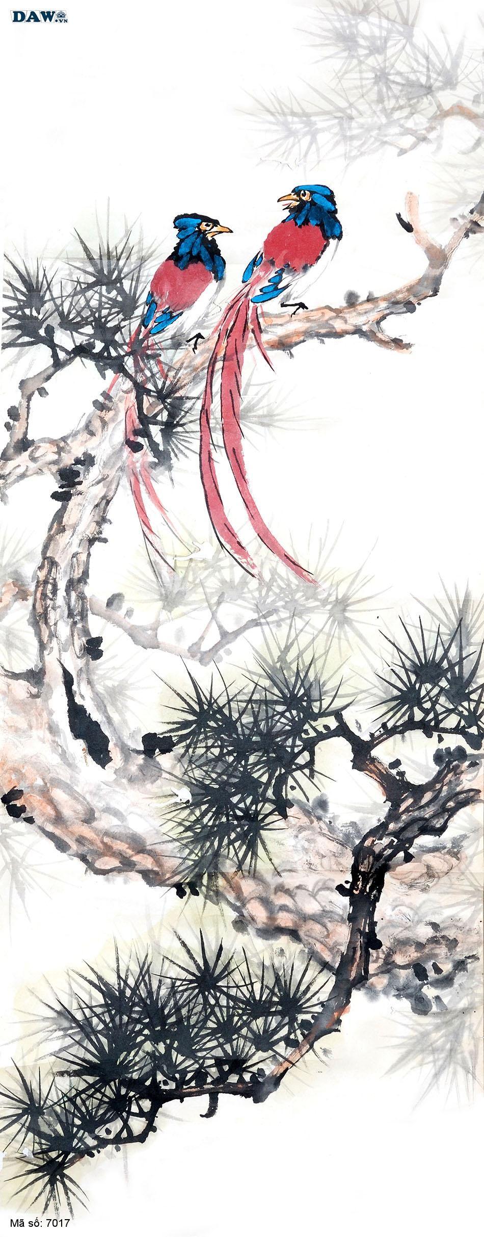 7017 Tranh dán tường Hàn Quốc | Tranh dán tường Thủy Mặc - Phong Thủy  7017