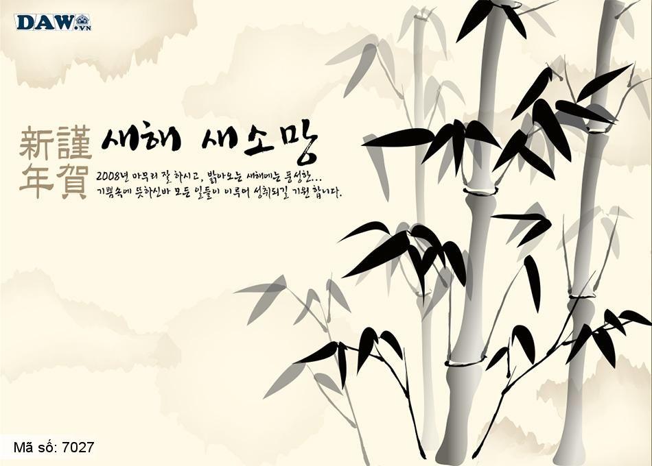 7027 Tranh dán tường Hàn Quốc | Tranh dán tường Thủy Mặc - Phong Thủy  7027