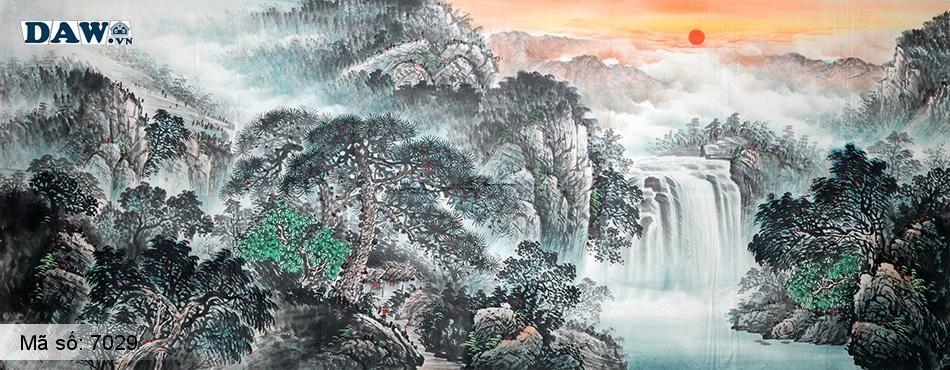 7029 Tranh dán tường Hàn Quốc | Tranh dán tường Thủy Mặc - Phong Thủy  7029