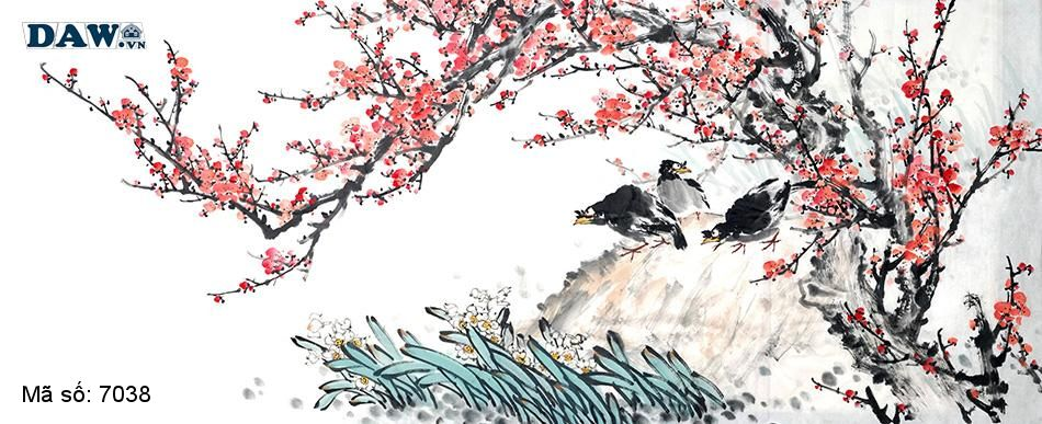 7038 Tranh dán tường Hàn Quốc | Tranh dán tường Thủy Mặc - Phong Thủy  7038