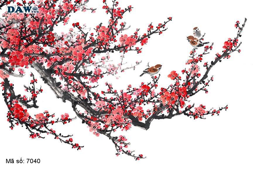 7040 Tranh dán tường Hàn Quốc | Tranh dán tường Thủy Mặc - Phong Thủy  7040