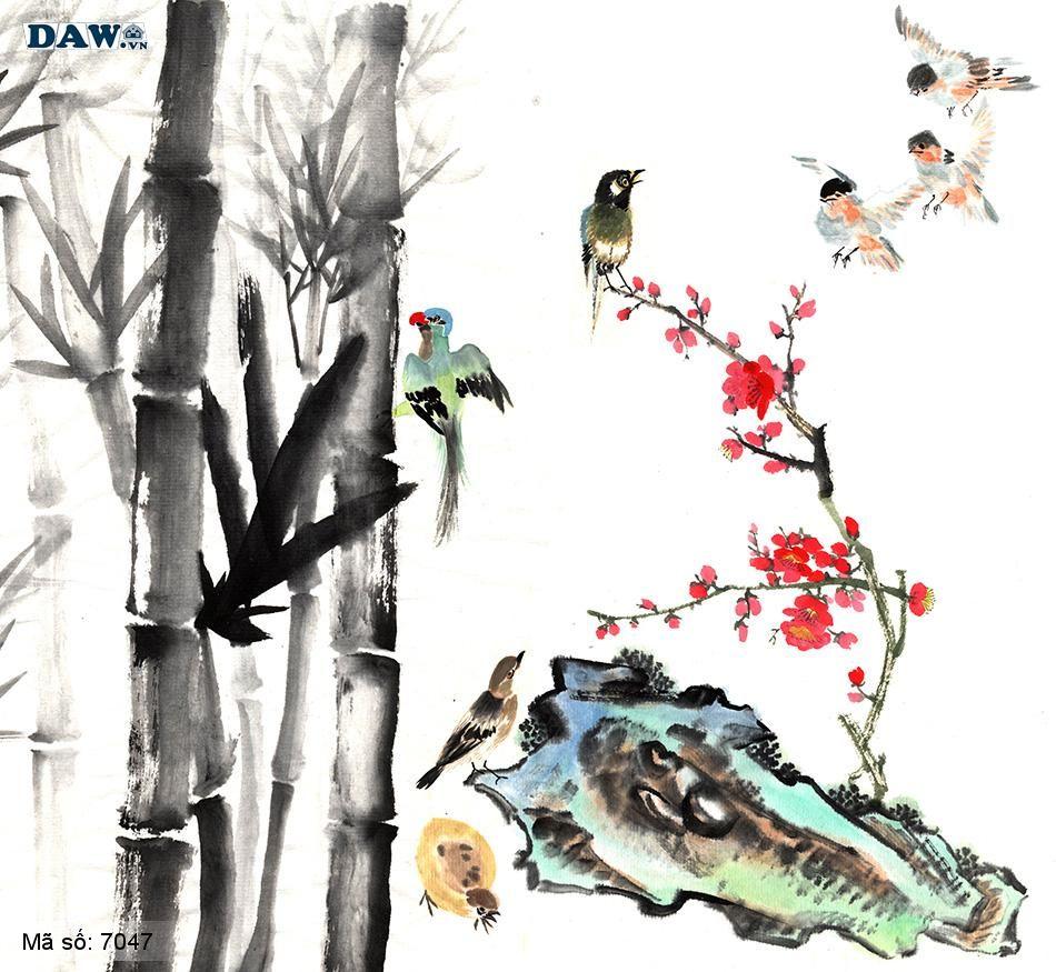 7047 Tranh dán tường Hàn Quốc | Tranh dán tường Thủy Mặc - Phong Thủy  7047