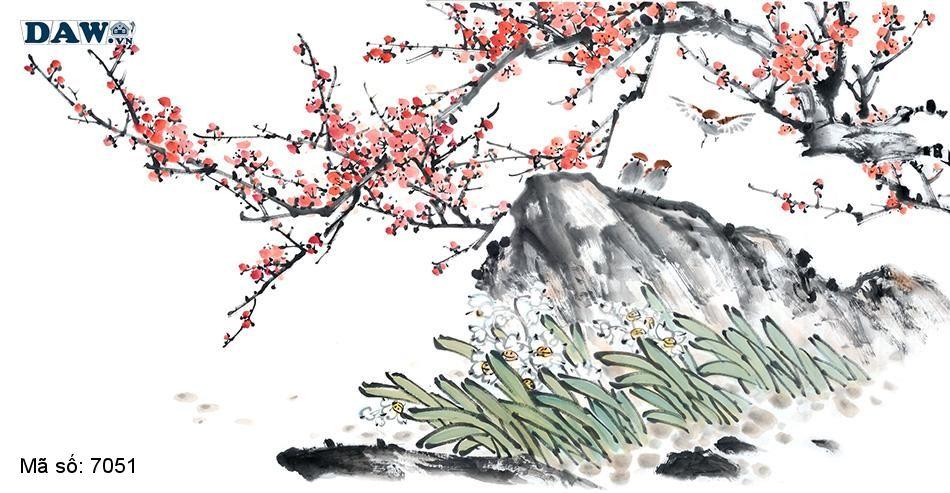 7051 Tranh dán tường Hàn Quốc | Tranh dán tường Thủy Mặc - Phong Thủy  7051