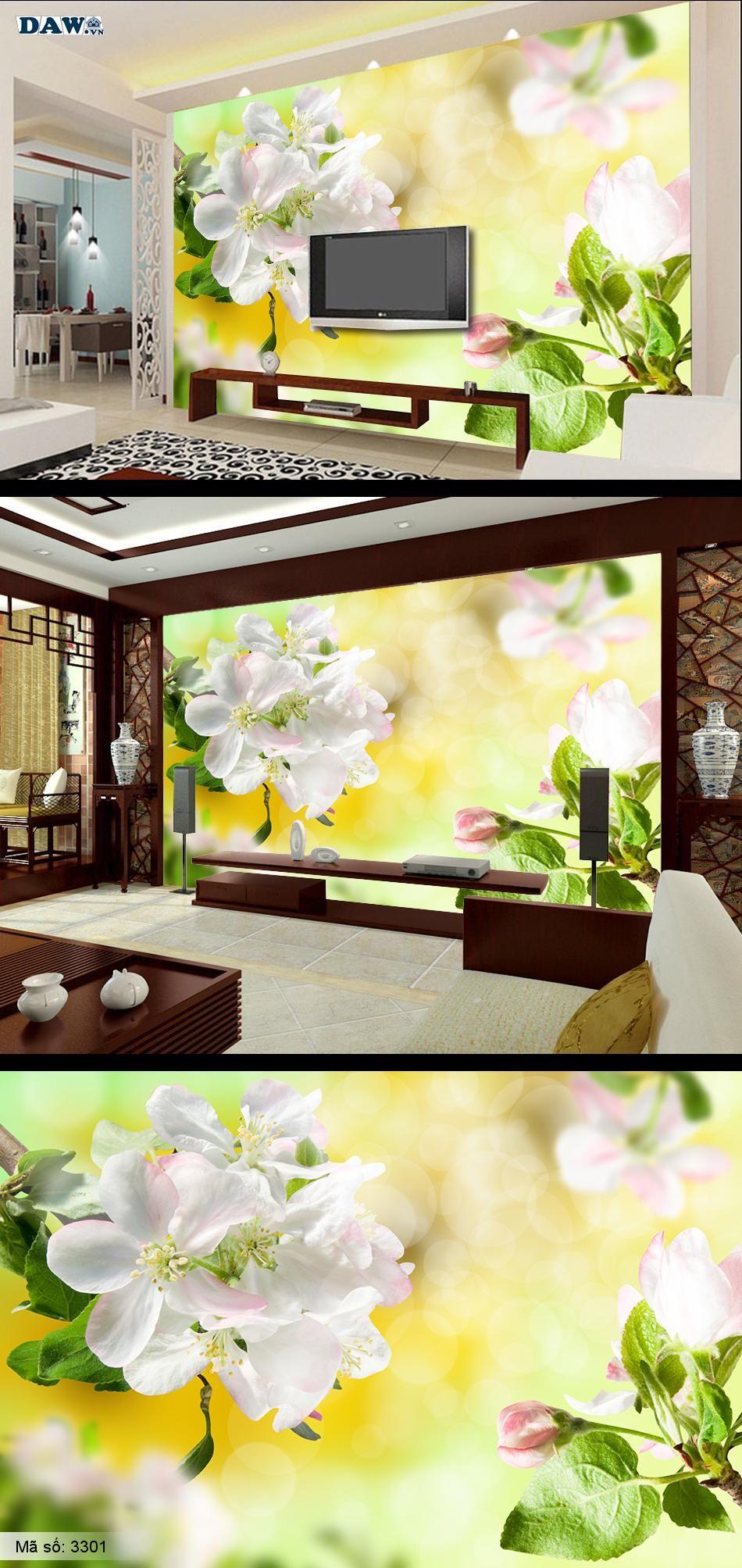 Hoa đào, hoa đào trắng, Tranh dán tường Hàn Quốc 3301