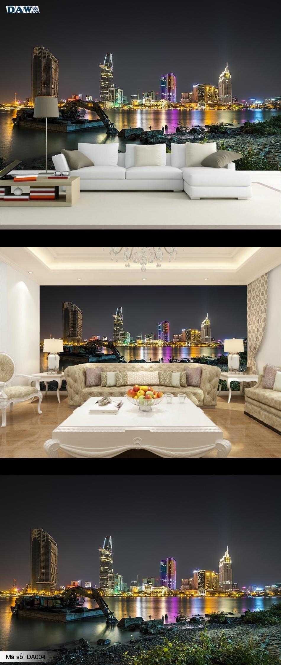 Tranh dán tường đẹp, tranh dán tường thành phố, thành phố Hồ Chí Minh, Đêm thành phố, thành phố bên sông DA004