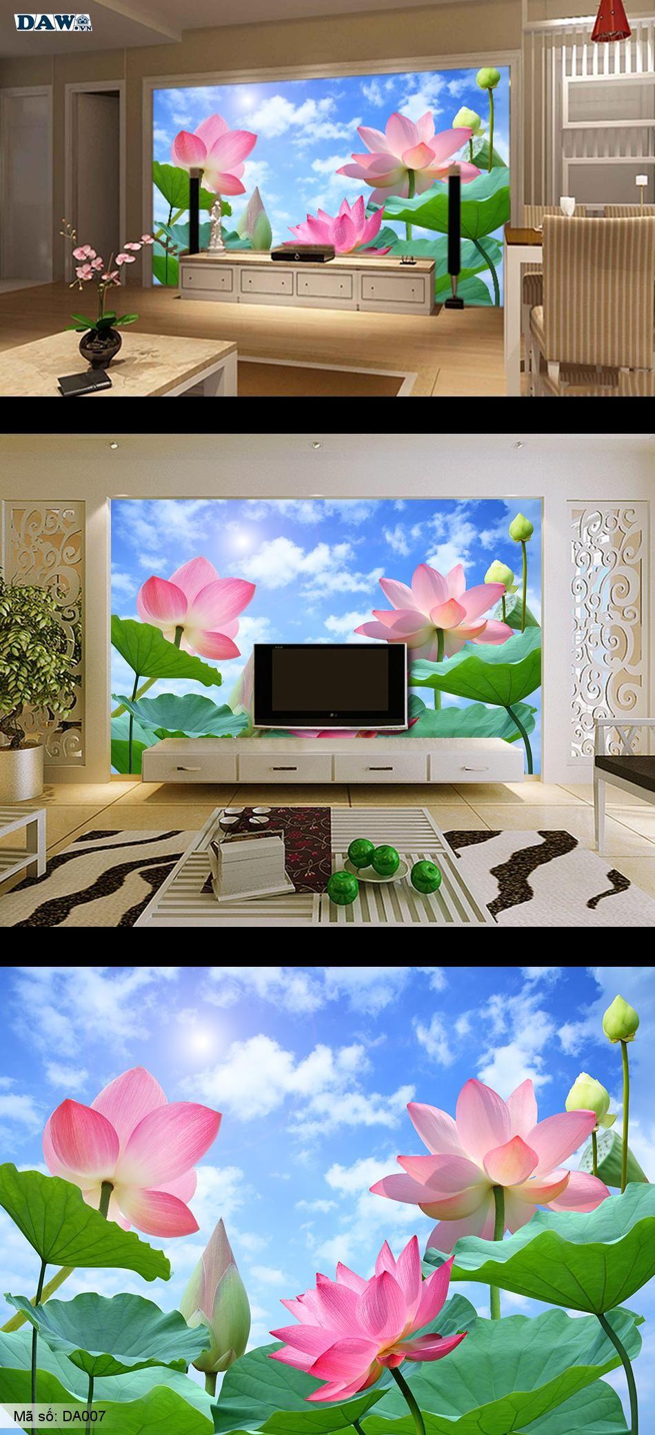 Tranh dán tường hoa sen, hoa sen đẹp, tranh dán tường hoa lá DA007