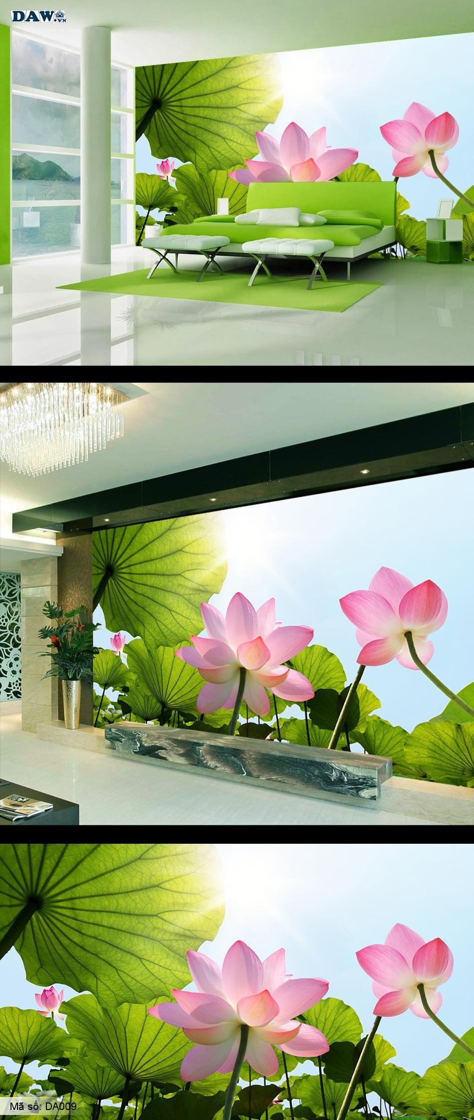 Tranh dán tường hoa sen, hoa sen đẹp, tranh dán tường hoa lá DA009