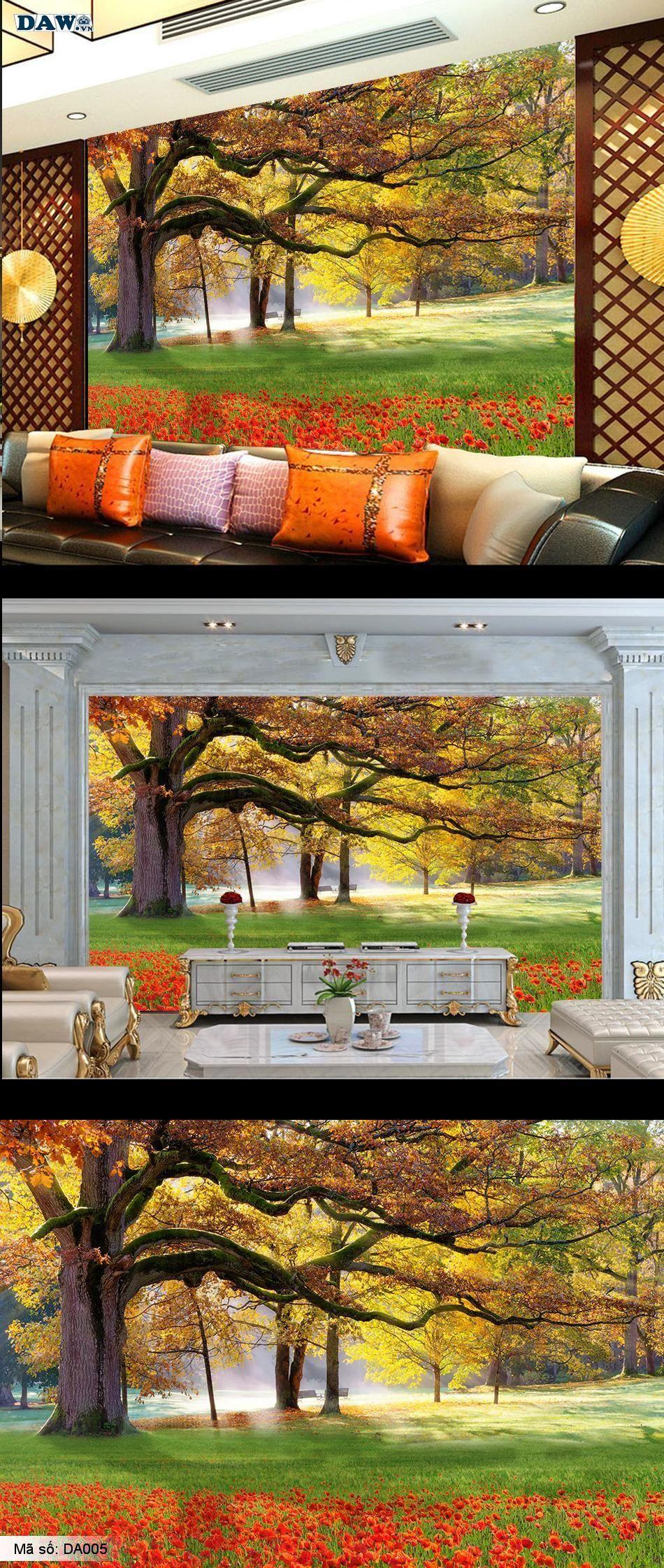 Tranh dán tường phong cảnh, phong cảnh đẹp, mùa thu, cây cổ thụ  DA005