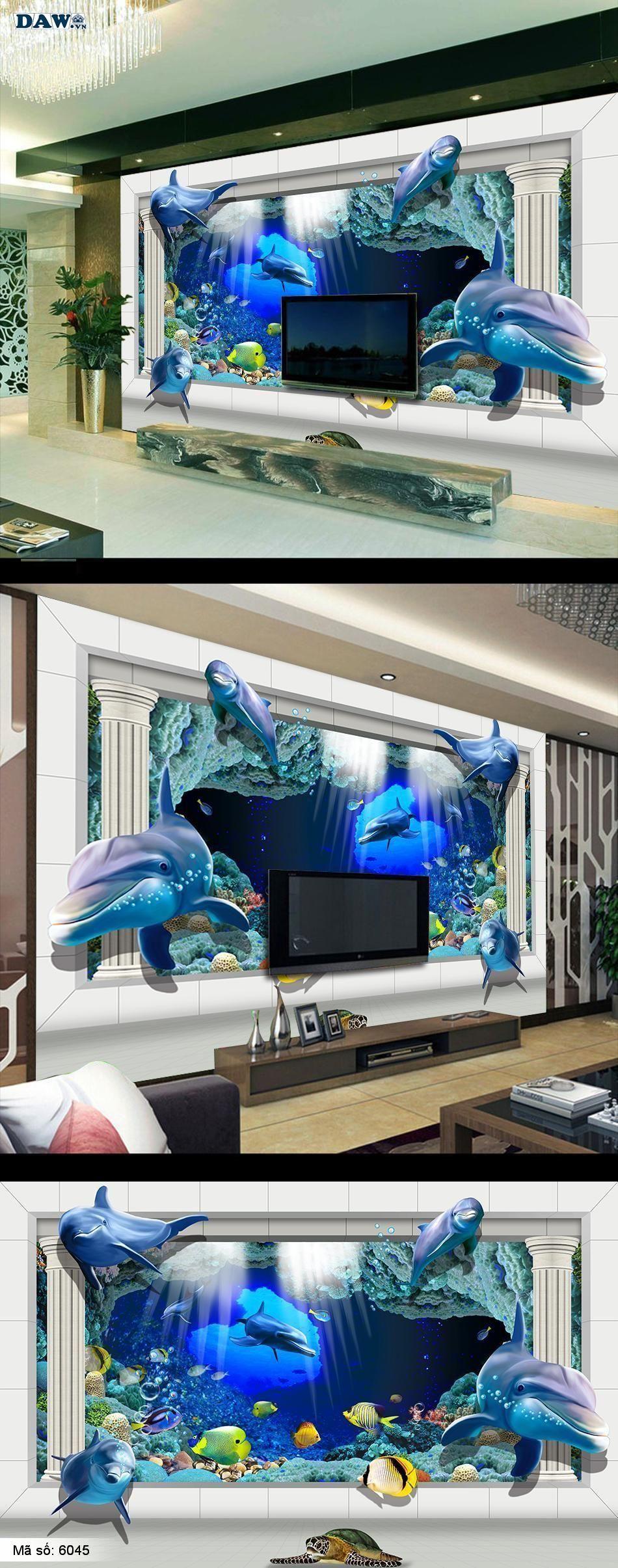 6045 | Đáy biển đẹp, biển đẹp, tranh 3D,  tranh dán tường đáy biển, cá heo 6045