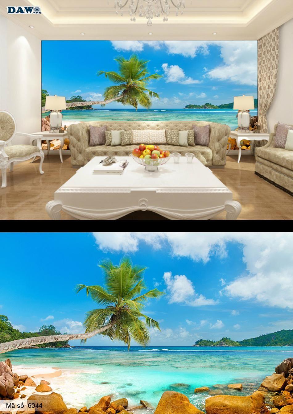 Tranh dán tường bãi biển, hàng dừa, cây dừa bãi cát, bãi đá bãi tắm, biển 6044