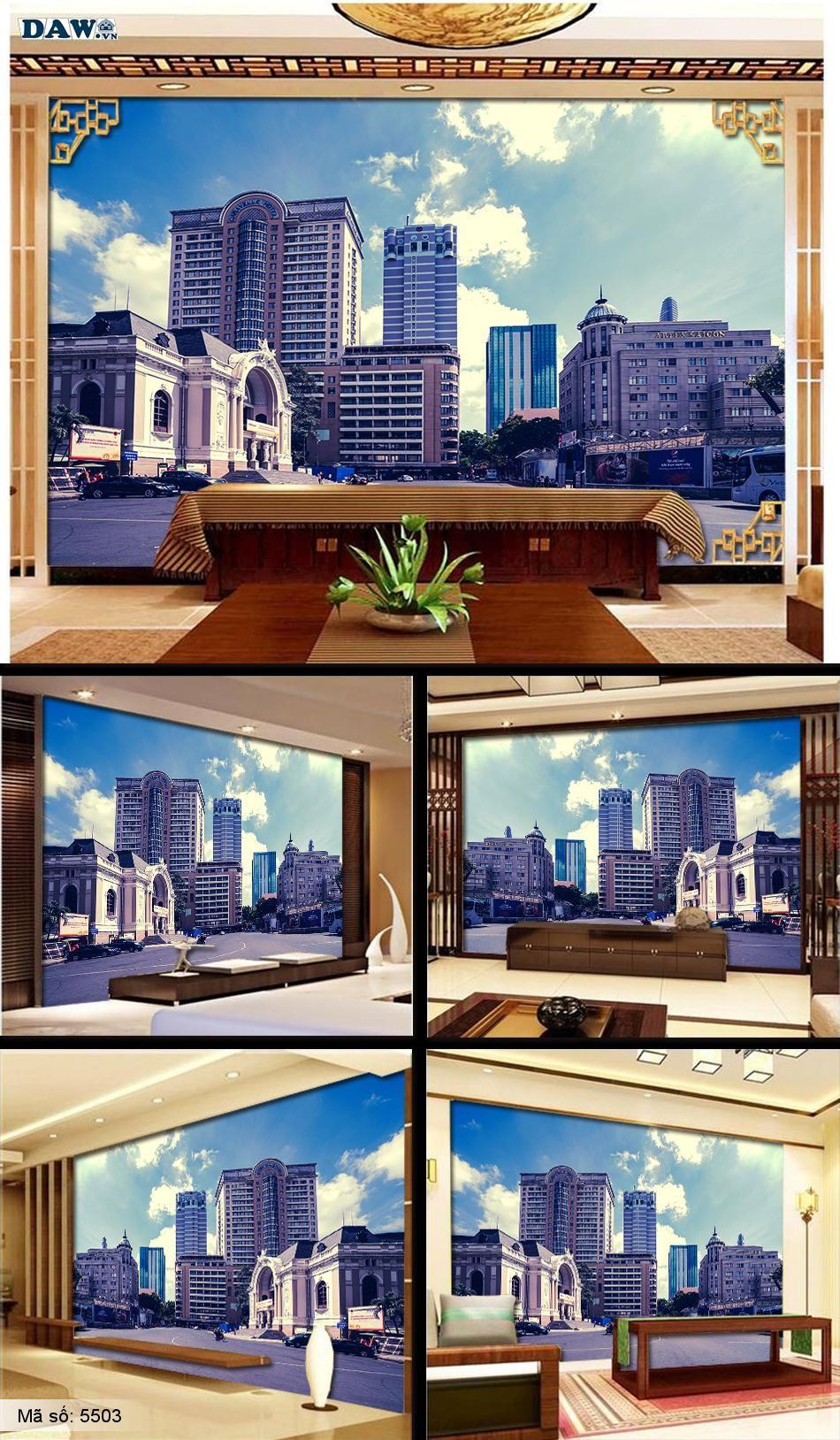 Tranh dán tường thành phố, thành phố hồ chí minh, HCM, TPHCM, thành phố đẹp, nhà hát thành phố, khách sạn caravelle, đường đồng khởi, The Reveire Saigon 5503