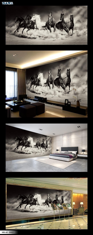 Tranh dán tường động vật, tranh ngựa, tranh dán tường ngựa, tranh bát mã, mã đáo thành công, ngựa phi, ngựa chạy 0001