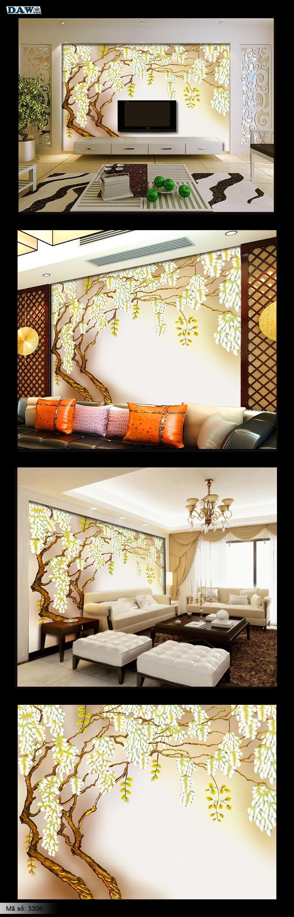 Tranh dán tường Hàn Quốc | Tranh dán tường hình hoa đẹp, tranh phòng khách, tranh phòng ngủ 3306