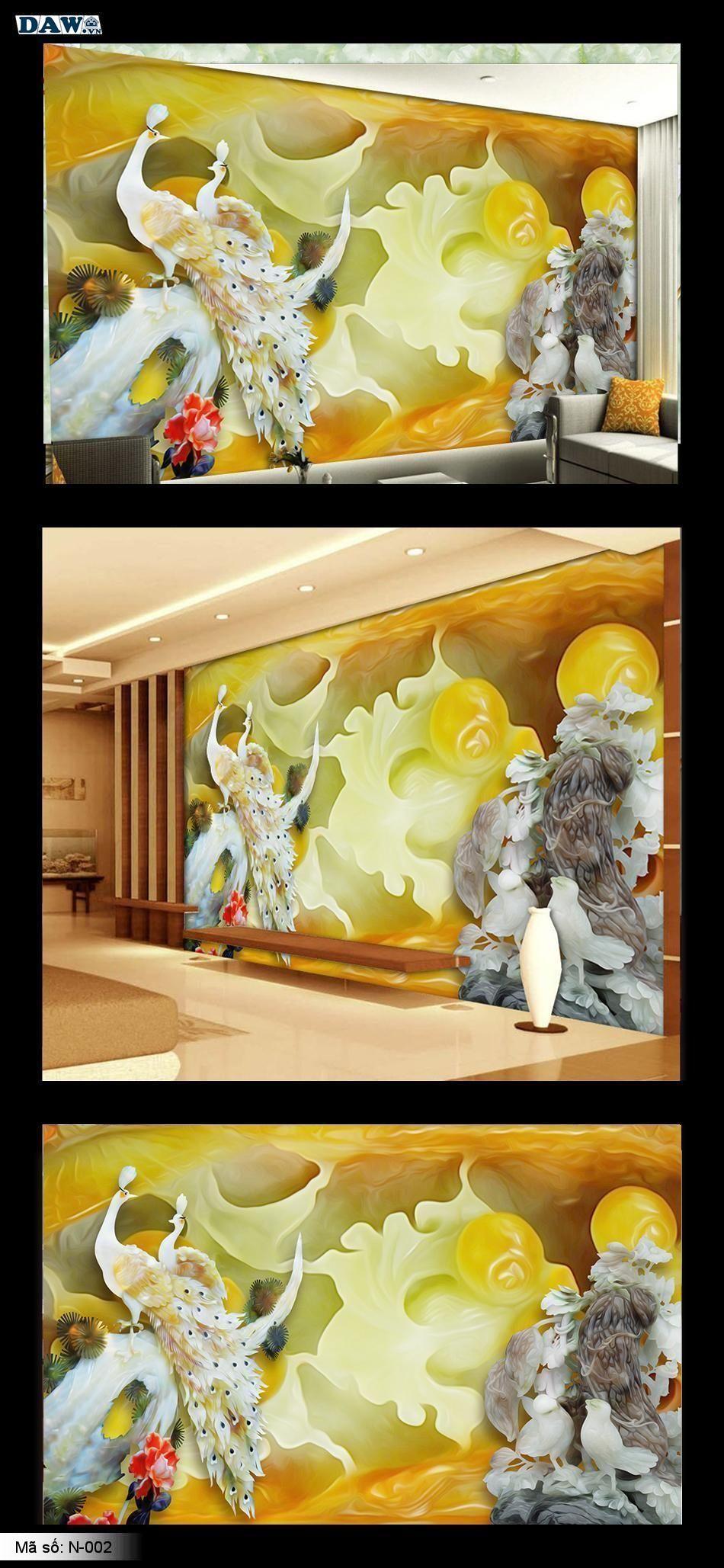 Tranh dán tường 3D, tranh ngọc bích, tranh hoa sen, câu đối N-002