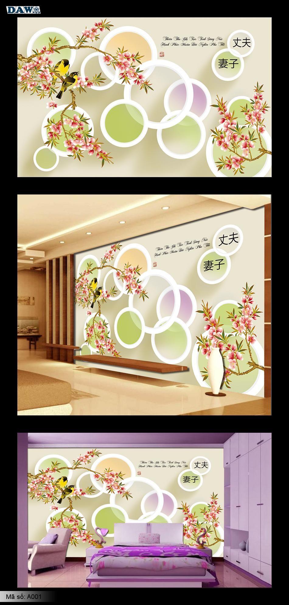 A001 | Tranh dán tường hoa lá, chim, lập thể, phòng khách, phòng ngủ A001