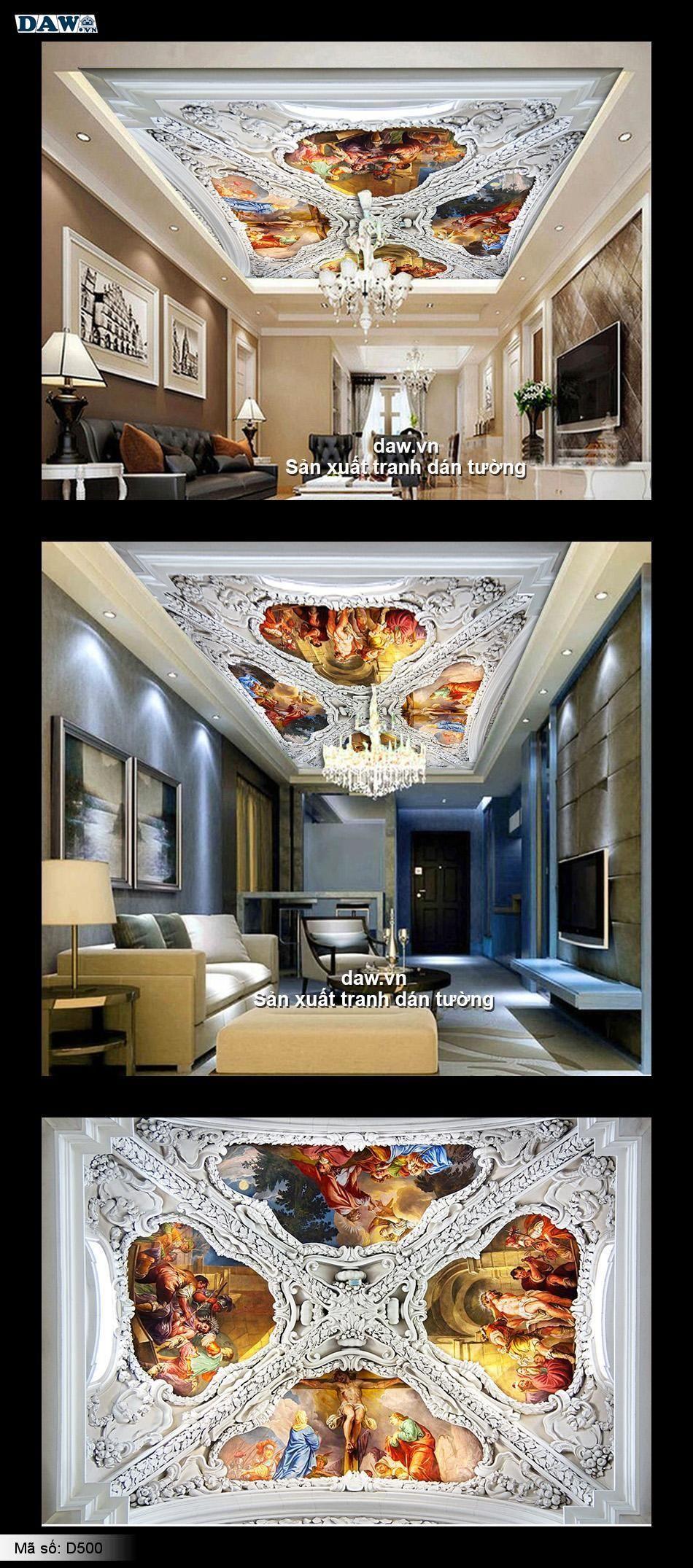 Tranh dán trần | trần nhà đẹp | trần nhà 3D D500