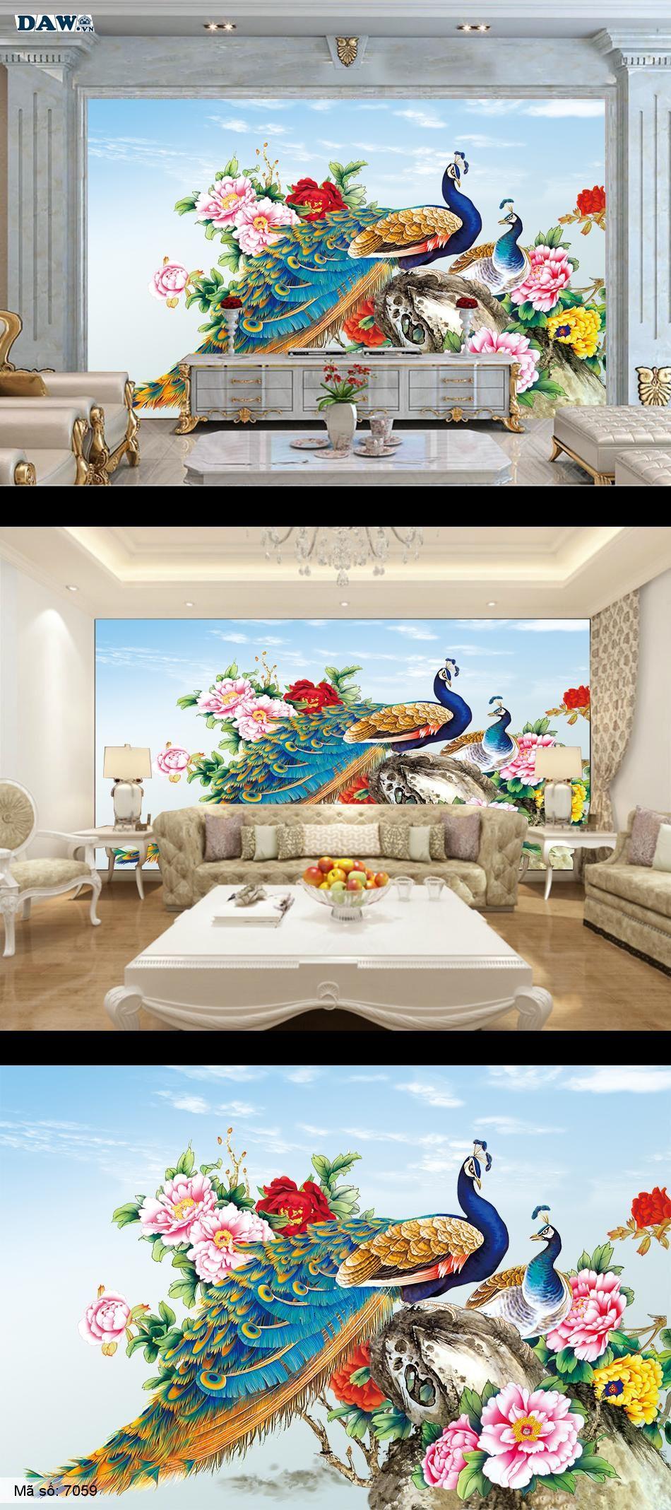Tranh dán tường chim công, con công, tranh dan tuong, tranh dan tuong phong thuy 7059