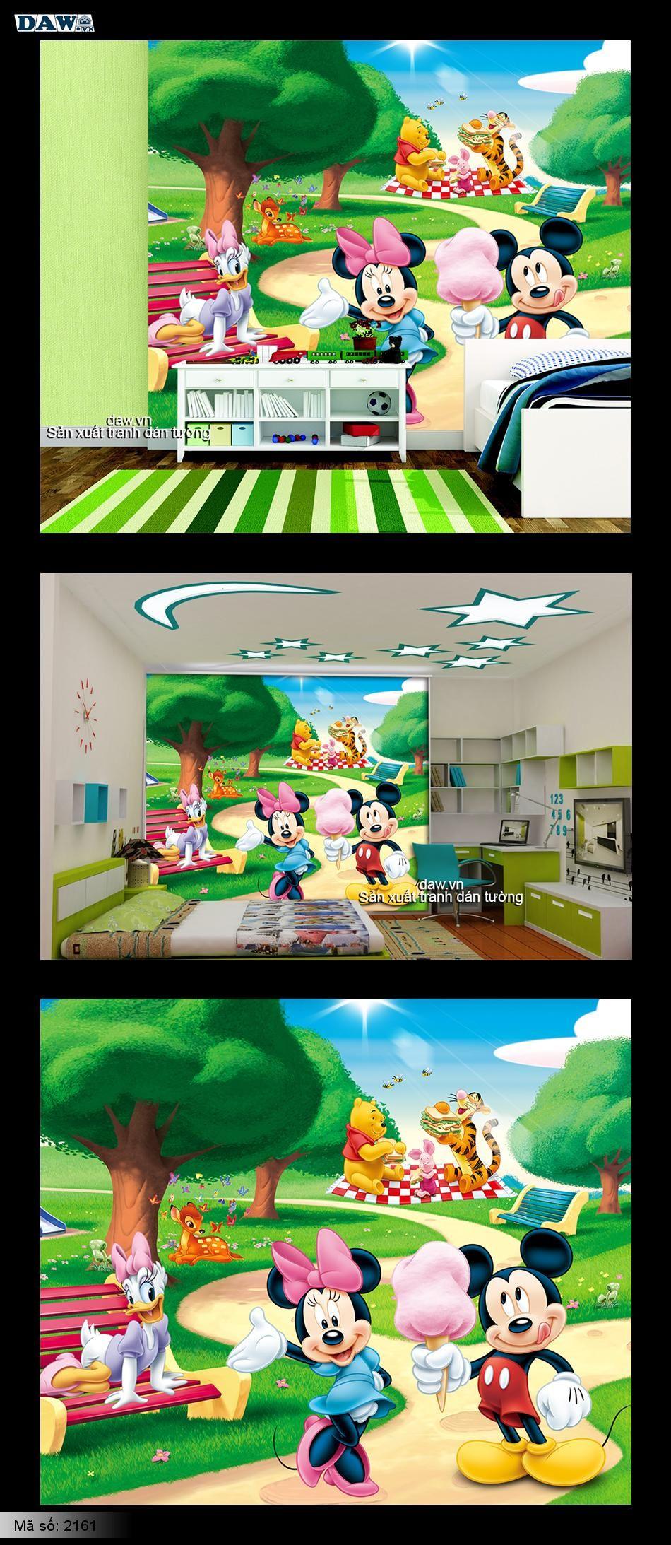 Tranh dán tường trẻ em | Tranh dan tuong danh cho be yeu | Chuot mickey và gấu Pooh 2161