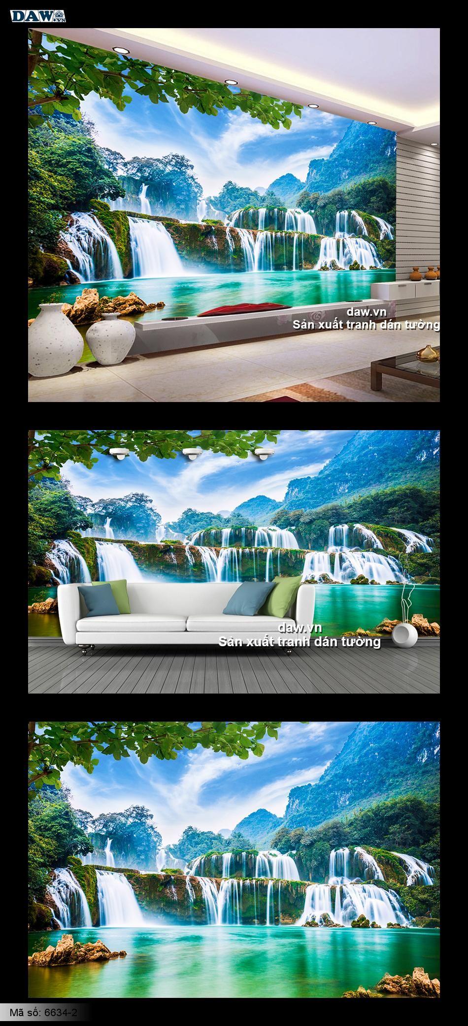 Thác nước đẹp | tranh dán tường thác nước, thác bản giốc 6634-2