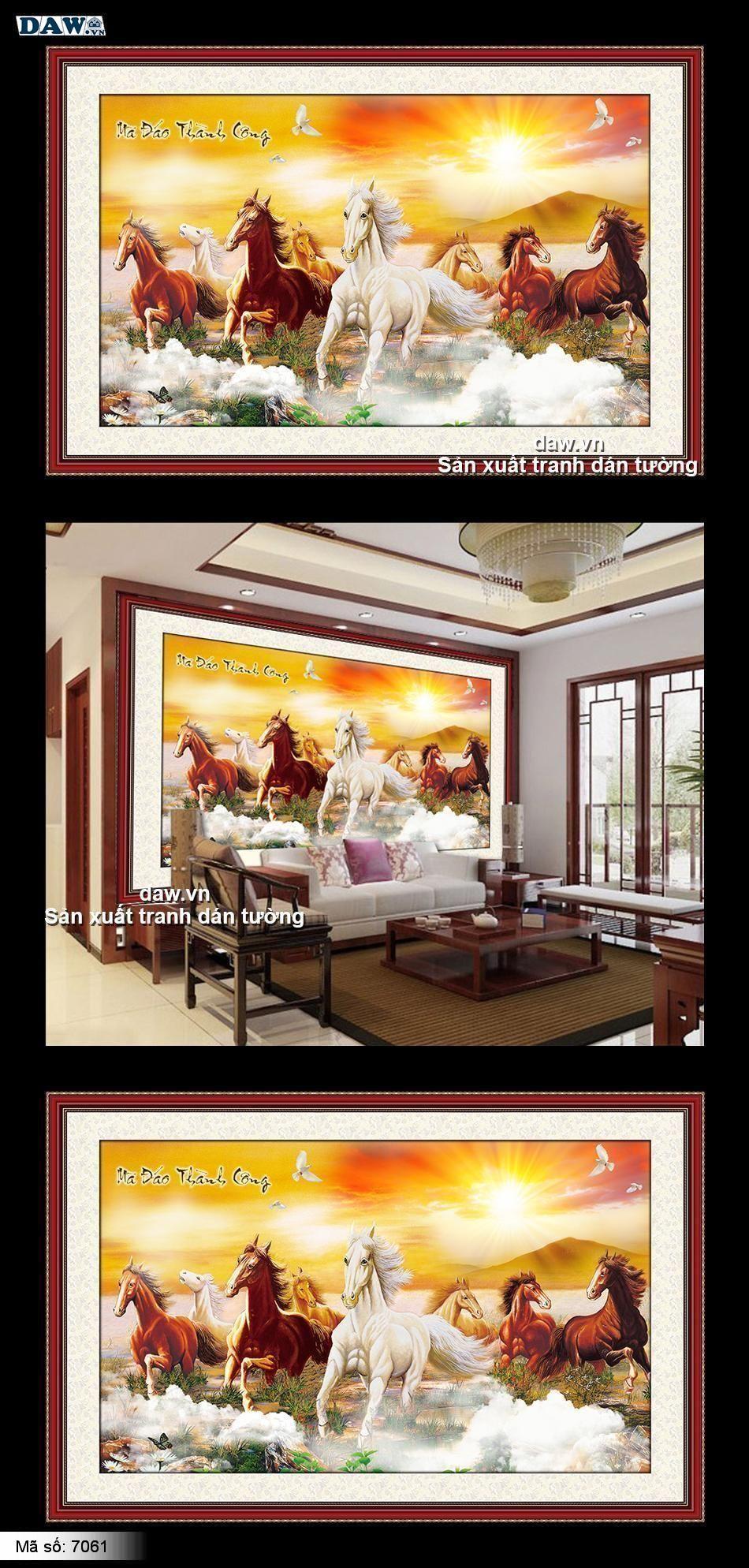 Tranh bát mã, Tranh tường ngựa, tranh thủy mặc, tranh mã đáo thành công, 8 tám con ngựa, tranh vẽ 7061