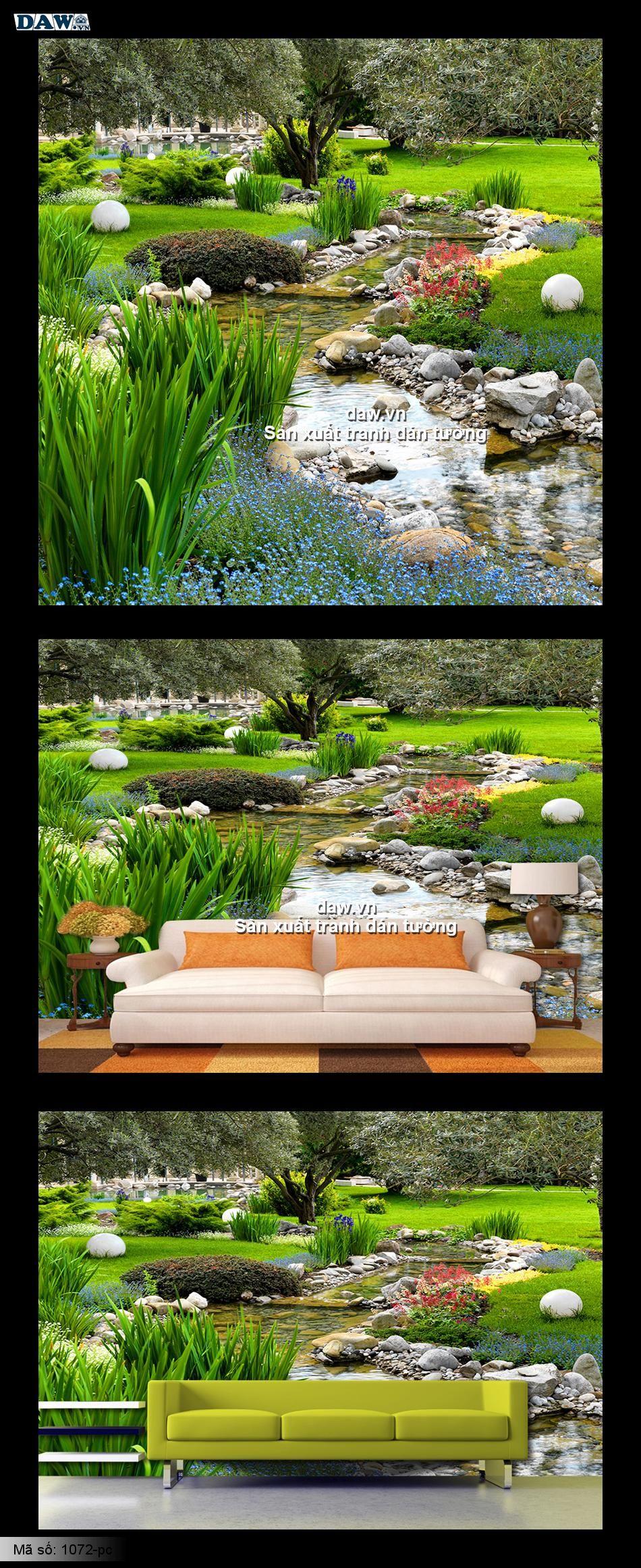 Tranh dán tường phong cảnh đẹp, tranh dán tường xanh mát 1072